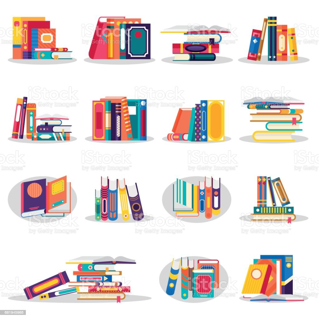 Colored books icons set in flat design vector art illustration