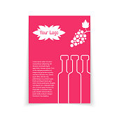 colored brochure for wine shop. concept of drunk, alcoholic, celebrate, cocktail, glassware, sommelier, postcard. isolated on white background. flat style trend modern design vector illustration