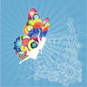 Complex vector design in funky retro style. Silhouette of a woman with colorful butterfly wings. All elements are clearly separated on layers.