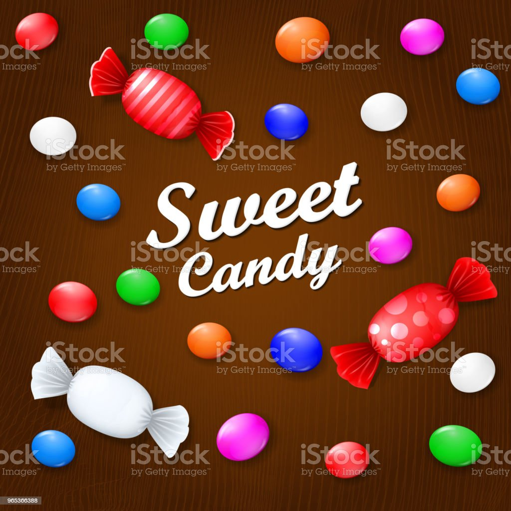 Colored candies, sweets and lollipops. On a brown wooden background. View from above. colored candies sweets and lollipops on a brown wooden background view from above - stockowe grafiki wektorowe i więcej obrazów bez ludzi royalty-free