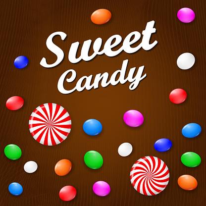 색된 사탕 과자 막대 사탕 에 갈색 나무 배경 위에서 볼 수 있습니다 0명에 대한 스톡 벡터 아트 및 기타 이미지