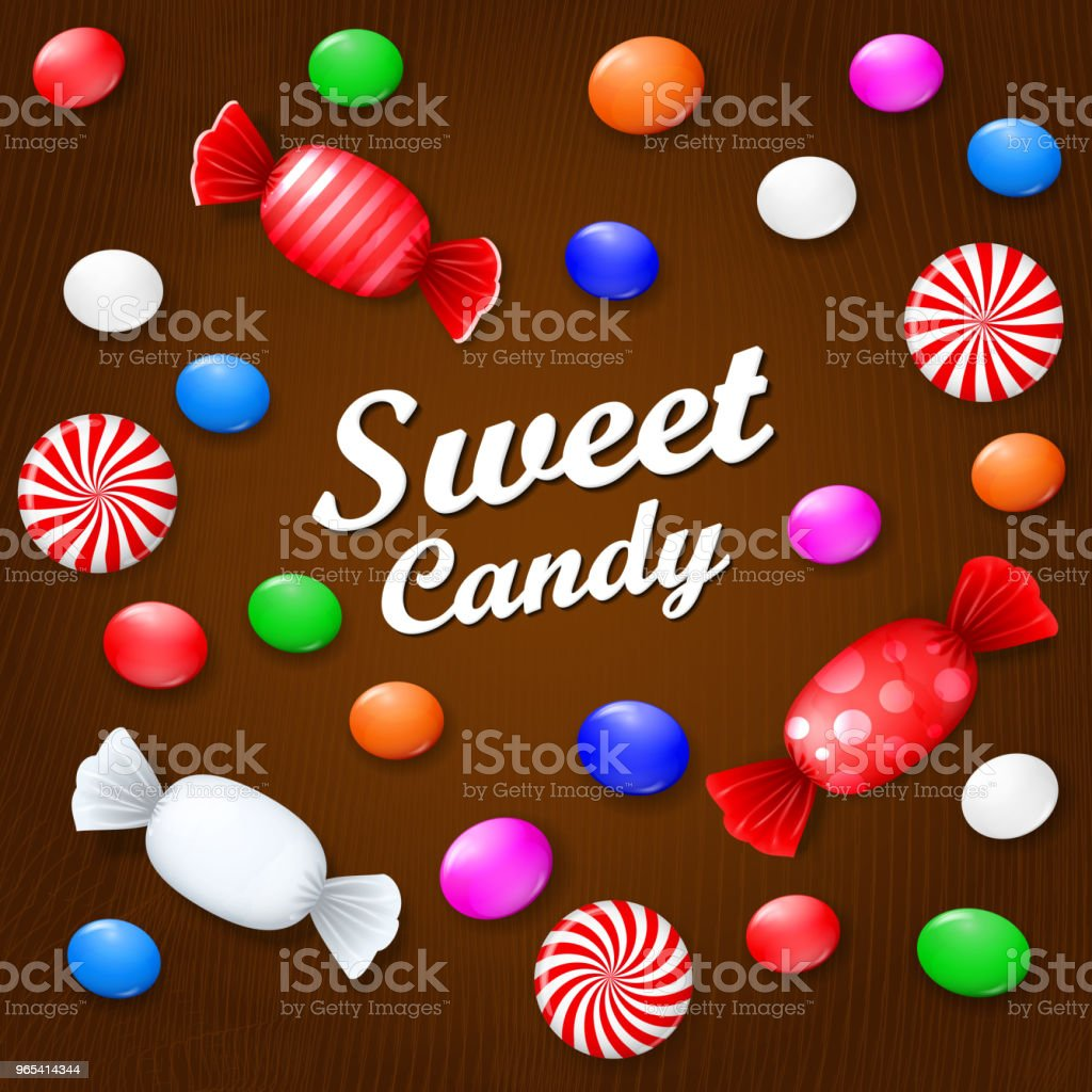 Colored candies, sweets and lollipops. On a brown wooden background. View from above. royalty-free colored candies sweets and lollipops on a brown wooden background view from above stock vector art & more images of backgrounds