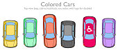 Colored cars set. Disabled logo. Cabriolet, hatchback, van, sedan,  jeep automobile collection. Top view. Colorful Blue, yellow, green, black, red. For education, traffic, game, race. Overhead. Vector