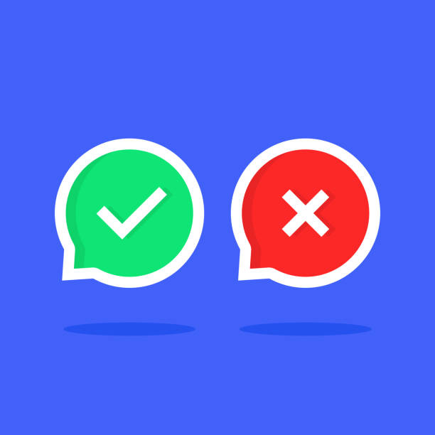 colored check marks bubble like dos or donts colored check marks bubble like dos or donts. cartoon trendy modern simple done graphic set ui design illustration isolated on blue background. concept of learning review or info mistakes dishonesty stock illustrations