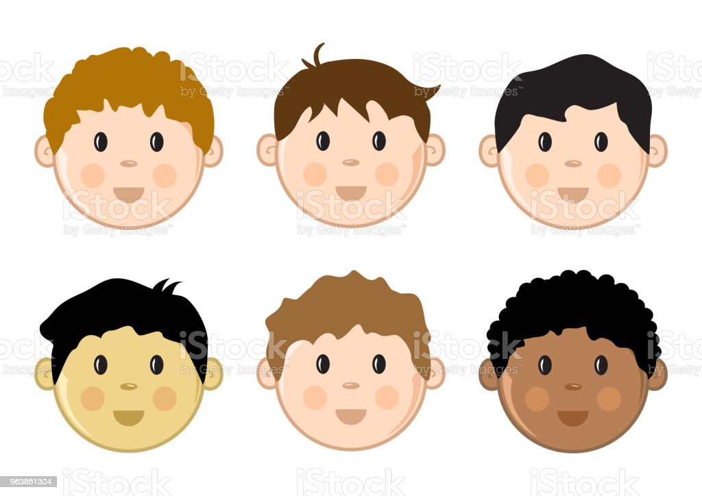 Colored children's faces set. Vector illustration - Royalty-free Adult stock vector