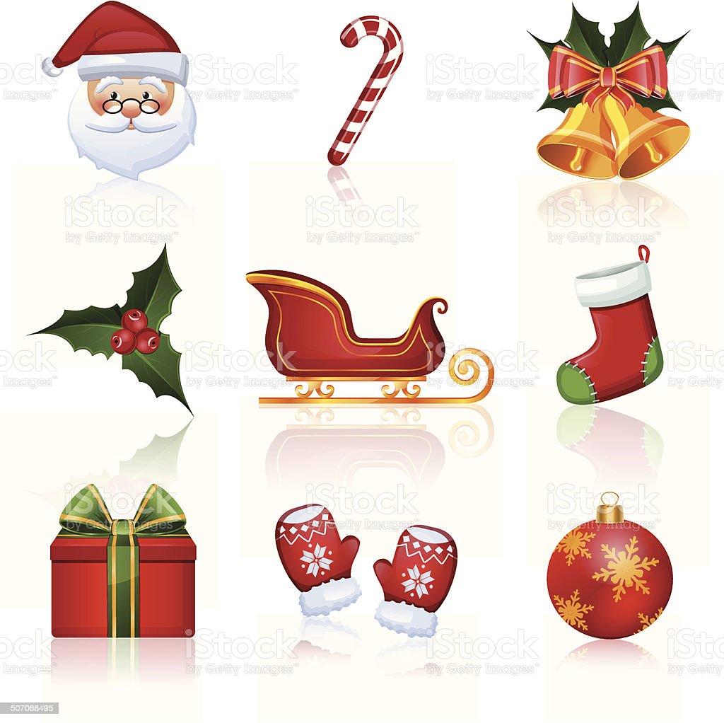 Immagini Vettoriali Natale.Colore Icone Di Natale E Capodanno Illustrazione Vettoriale