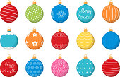 15 Colored Christmas balls with different textures, flat style, vector eps10 illustration
