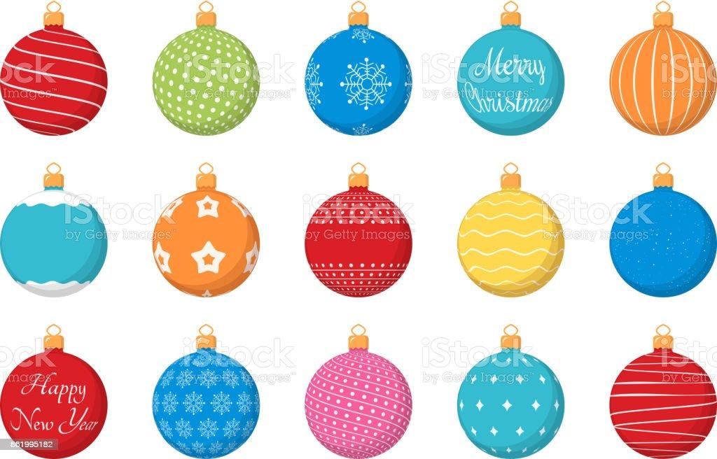 Bolas de navidad de color - ilustración de arte vectorial