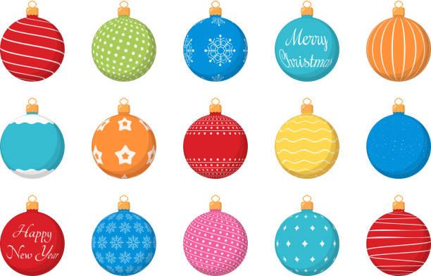 bunte weihnachten bälle - weihnachtskugel stock-grafiken, -clipart, -cartoons und -symbole
