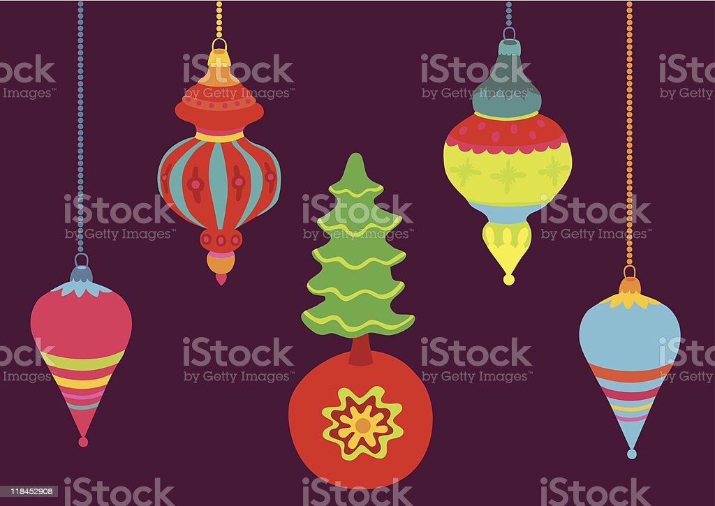 Colored Christmas Ornaments vector art illustration
