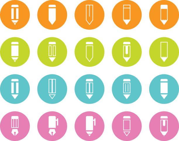 Colored Circle Pencil and Pen Various Icons vector art illustration