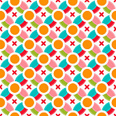 Colored circle seamless pattern geometry abstract round seamless geometric design background vector illustration. Graphic decoration backdrop textile fabric creative ornament.