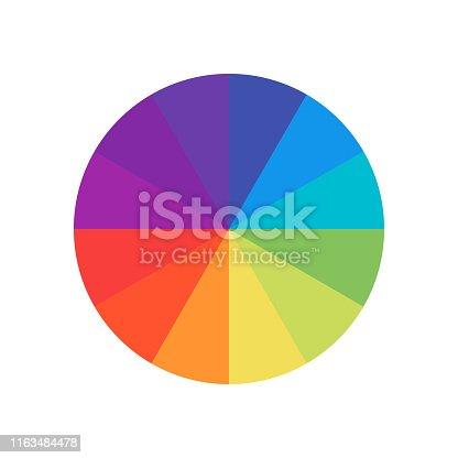 Colored circle. Wheel colour spectrum. Circle palette. Multicolored circle flat template. EPS 10