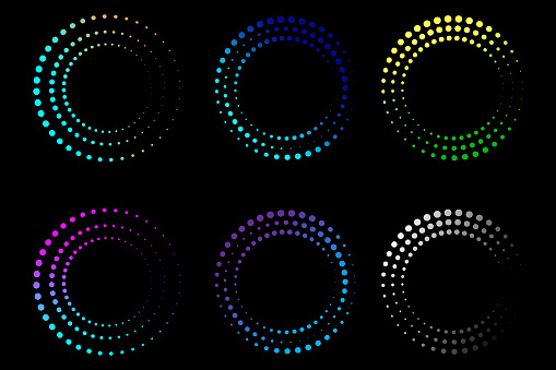 Colored circles point. Logo design. Round shape. Geometric art. Line symbol. Stock image. EPS 10.