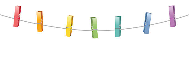 colored clothes pins clothes line rope - wäscheleine stock-grafiken, -clipart, -cartoons und -symbole