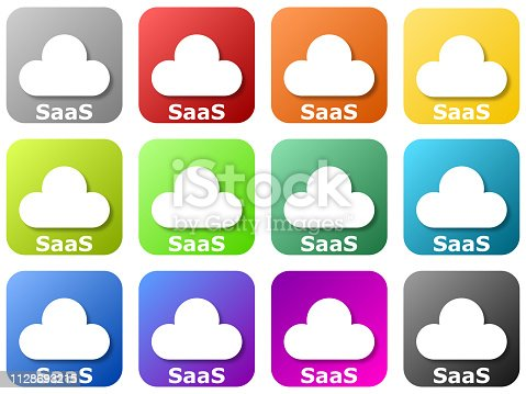 12 colored cloud logos - software as a service