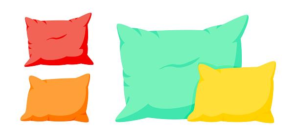 Colored composition of pillows cartoon set vector