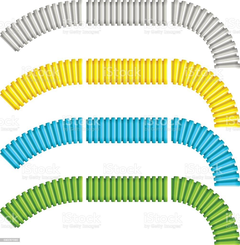 colored corrugated flexible tubes vector art illustration