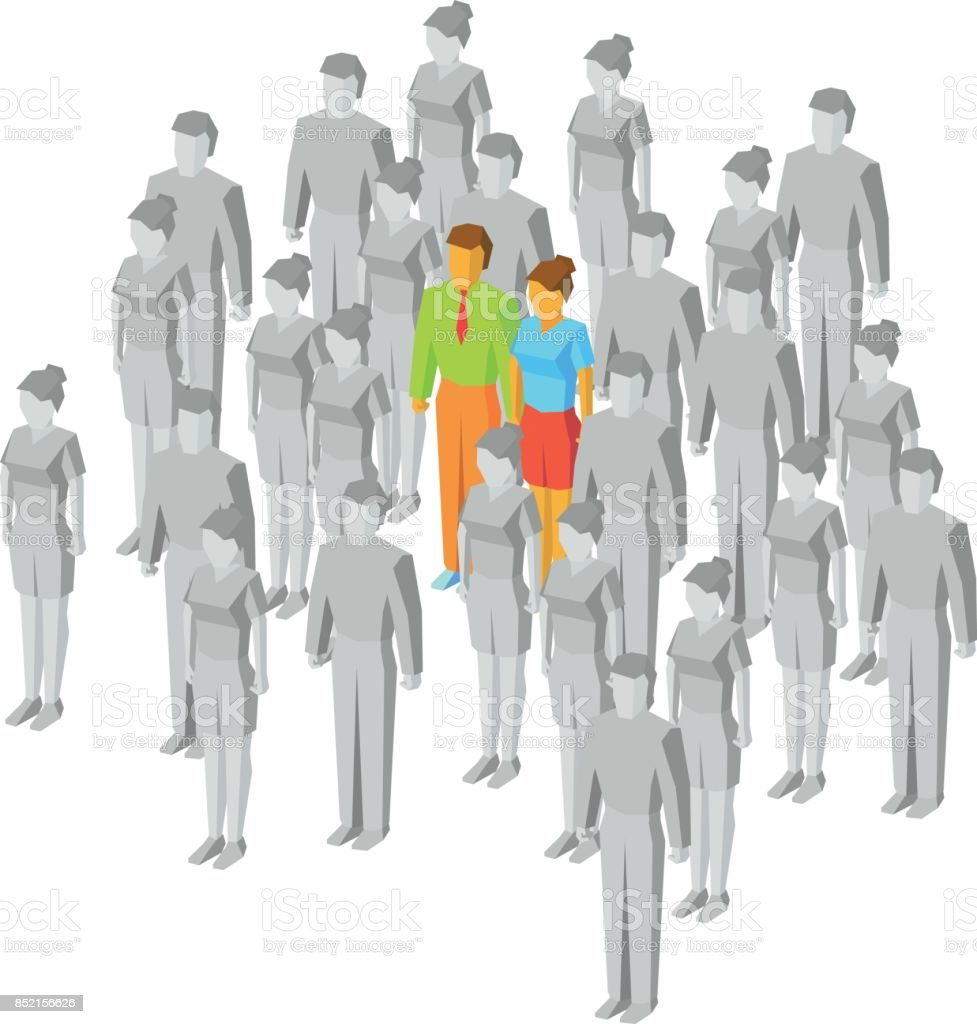 Colored couple among gray people vector art illustration
