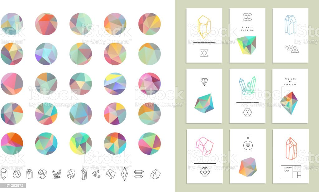 Colored crystal circles in polygon style with geometric shapes.