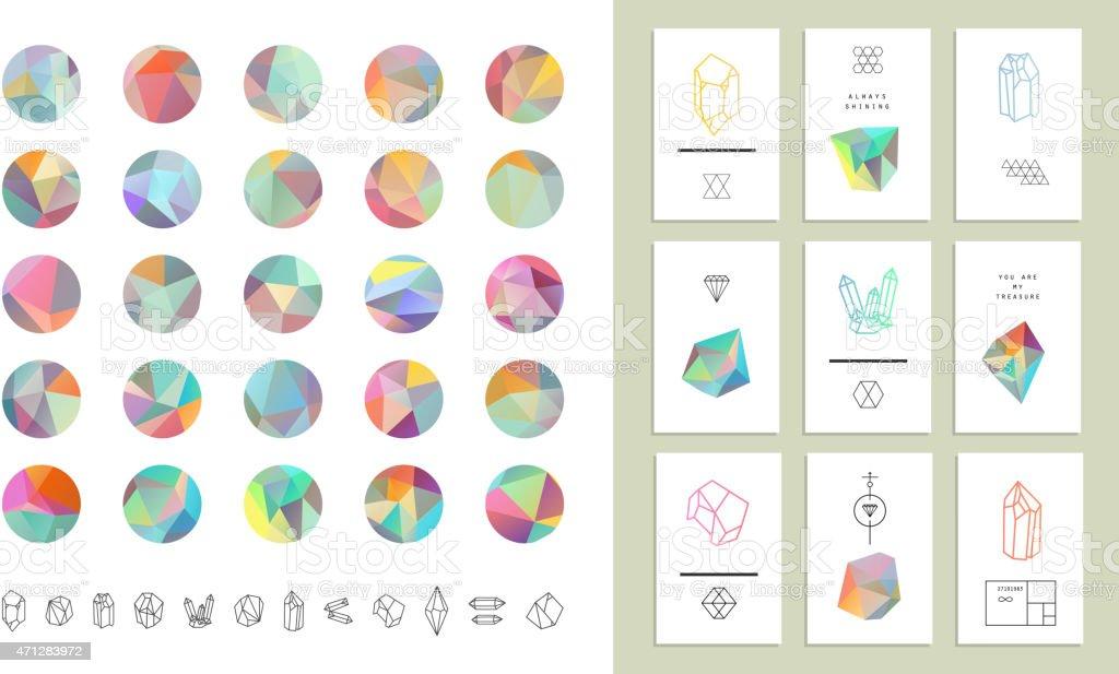 Farbige crystal Kreisen in polygon-style mit geometrischen Formen. – Vektorgrafik