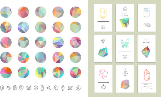 colored crystal circles in polygon style with geometric shapes. - gemstone stock illustrations, clip art, cartoons, & icons