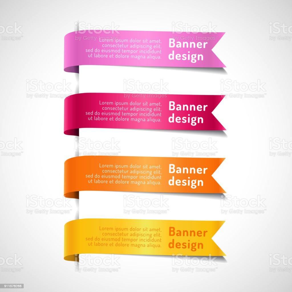 Colored decorative arrow ribbons set vector art illustration