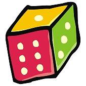 colored dice, single object, vector icon