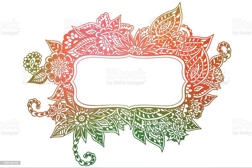 Colored doodle frame vector art illustration