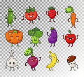 Vector sketch illustration of healthy food. Vegetable and fruit cute happy character.
