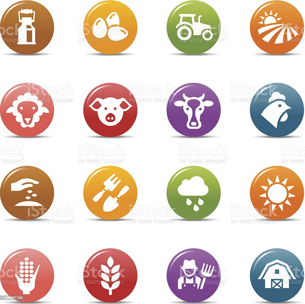 Colored Dots - Agriculture and Farming icons vector art illustration