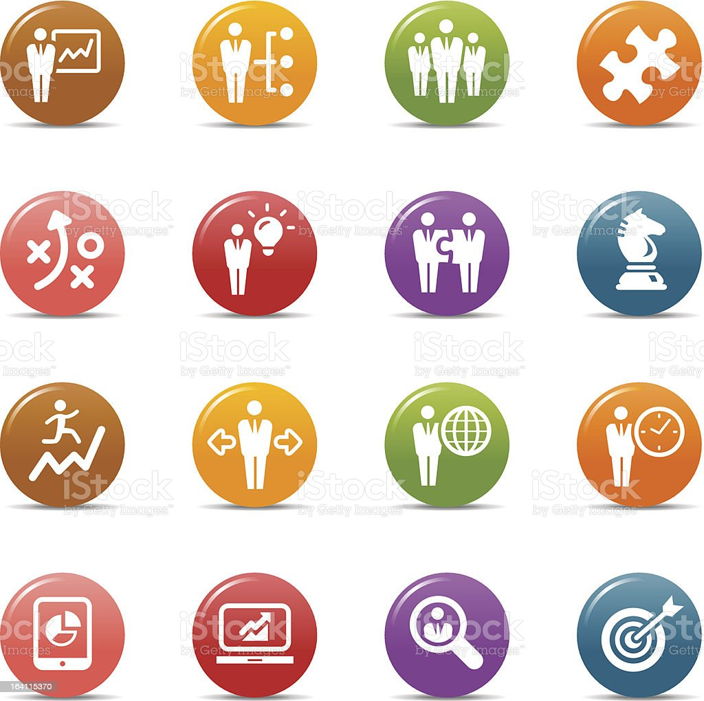 Colored Dots - Business strategy and management icons vector art illustration