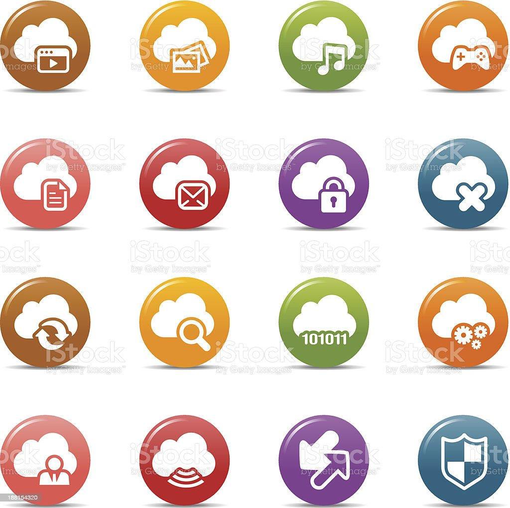 Colored Dots - Cloud computing Icons royalty-free stock vector art