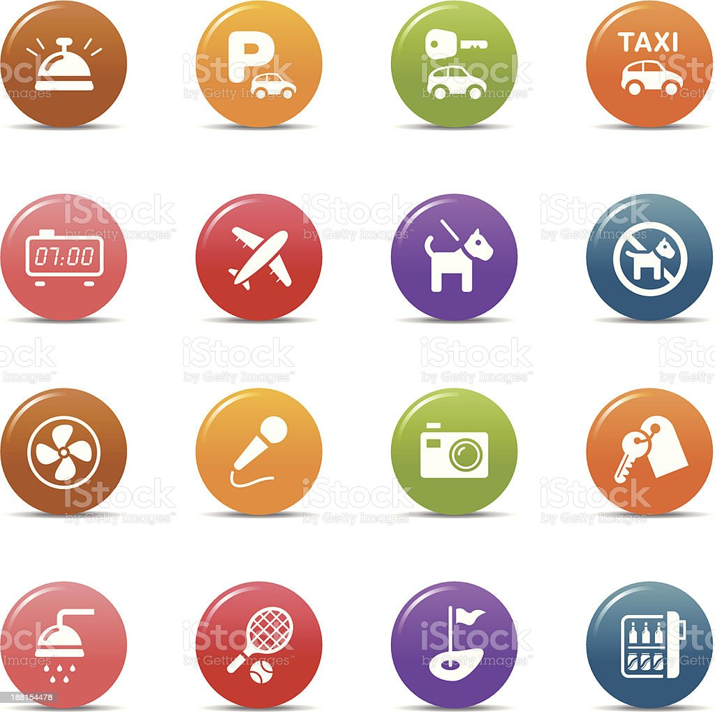 Colored Dots - Hotel icons vector art illustration