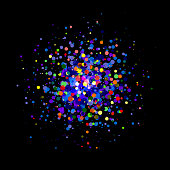 Colored dots on black background. Transparency used.