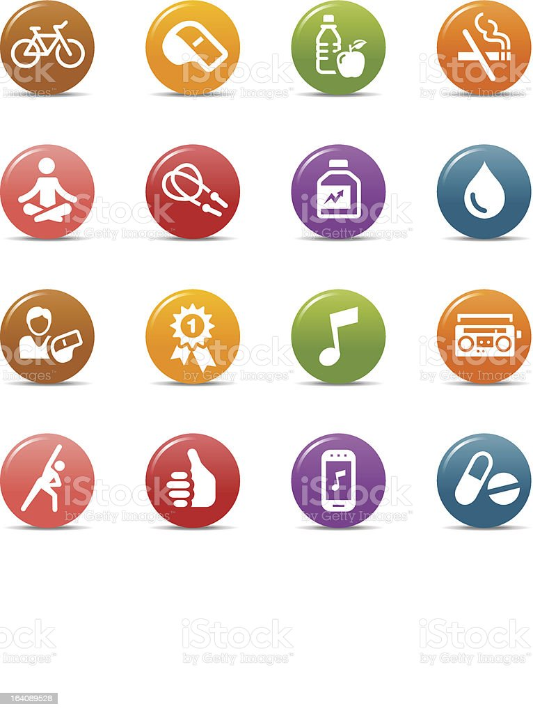 Colored dots representing health and fitness icons royalty-free stock vector art