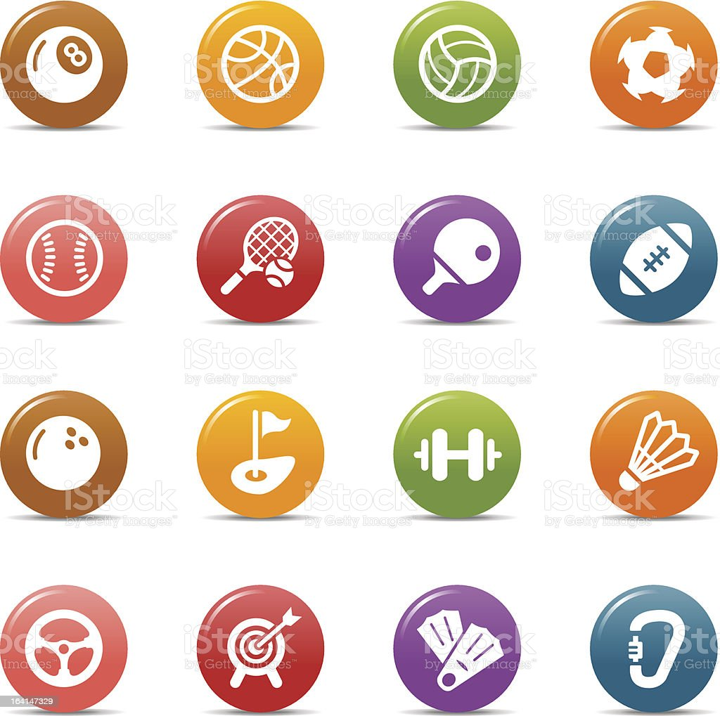 Colored Dots - Sport icons vector art illustration