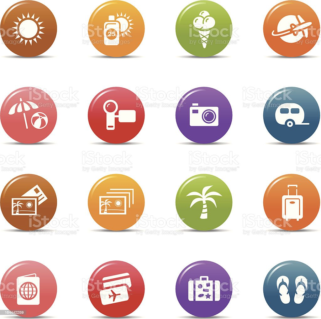 Colored dots - Vacation icons vector art illustration
