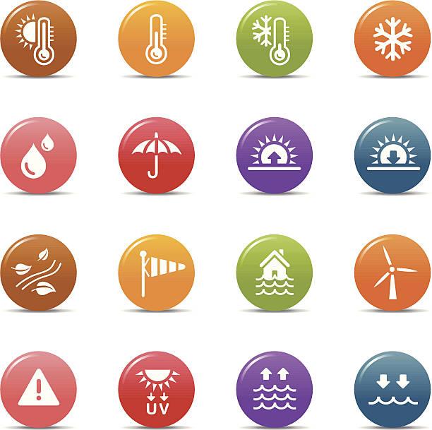 farbiger punkte-wetter-icons - schneeflocke sonnenaufgang stock-grafiken, -clipart, -cartoons und -symbole