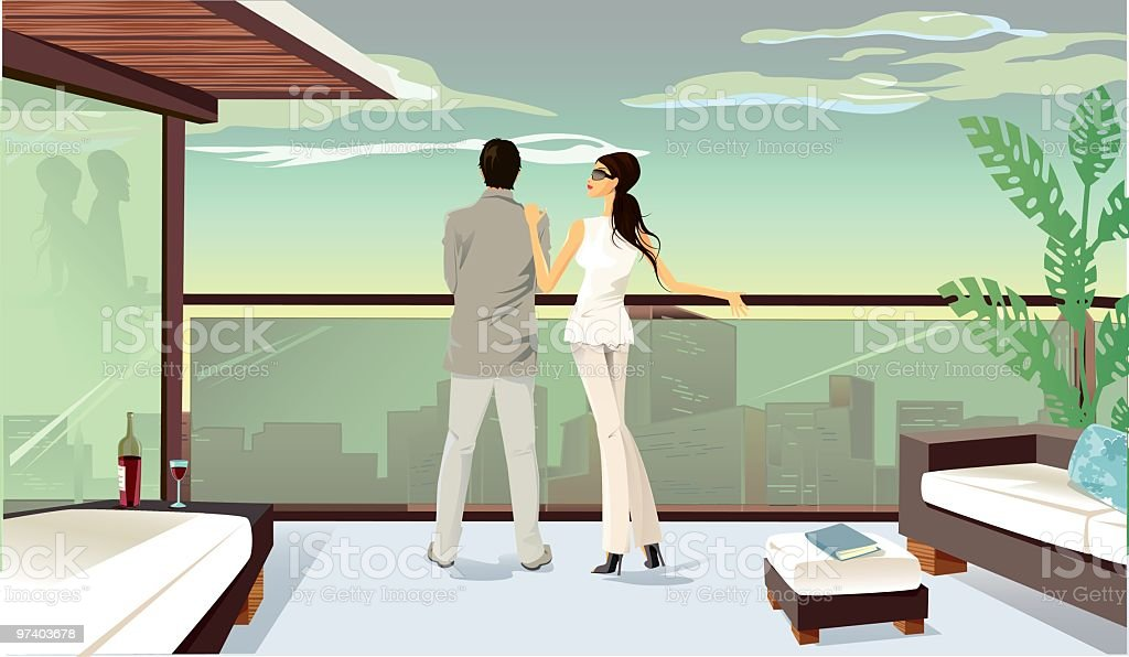 A colored drawing of a couple looking over a balcony vector art illustration