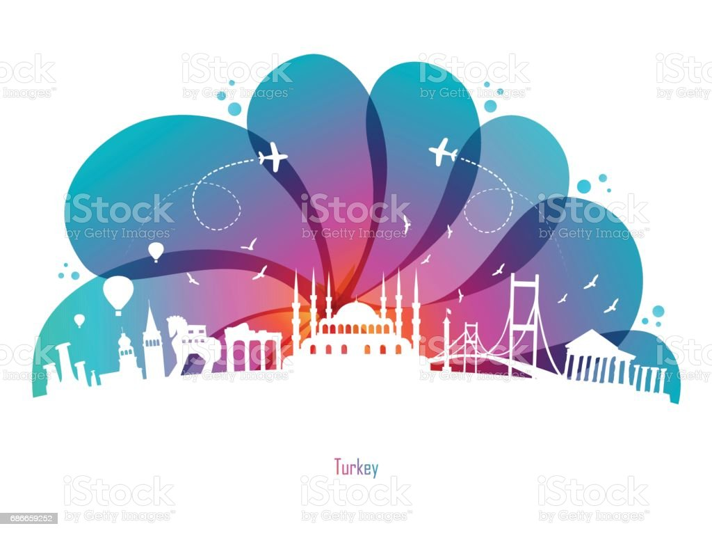 Colored Drops and Turkey vector art illustration