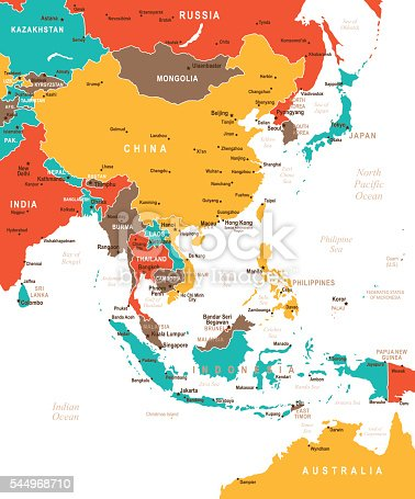 Map of East Asia - illustration