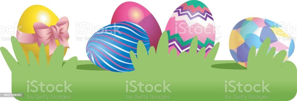 colored easter eggs on the grass vector illustration isolated on vector id942139092