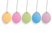 5 colored easter eggs on the white background. Eps 10 vector file.