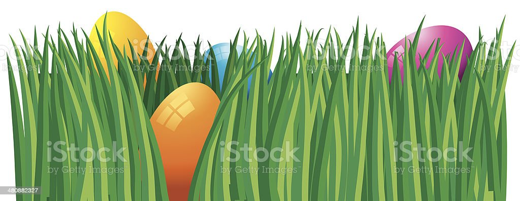 Colored Eggs Grass vector art illustration