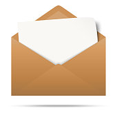 vector illustration with brown colored envelope with white empty paper isolated on white background