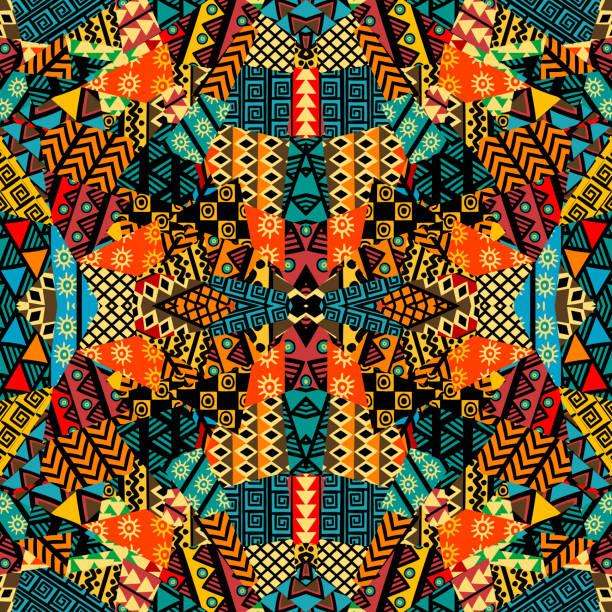 stockillustraties, clipart, cartoons en iconen met gekleurde etnische lappendeken mozaïek met afrikaanse motieven - tribale kunst