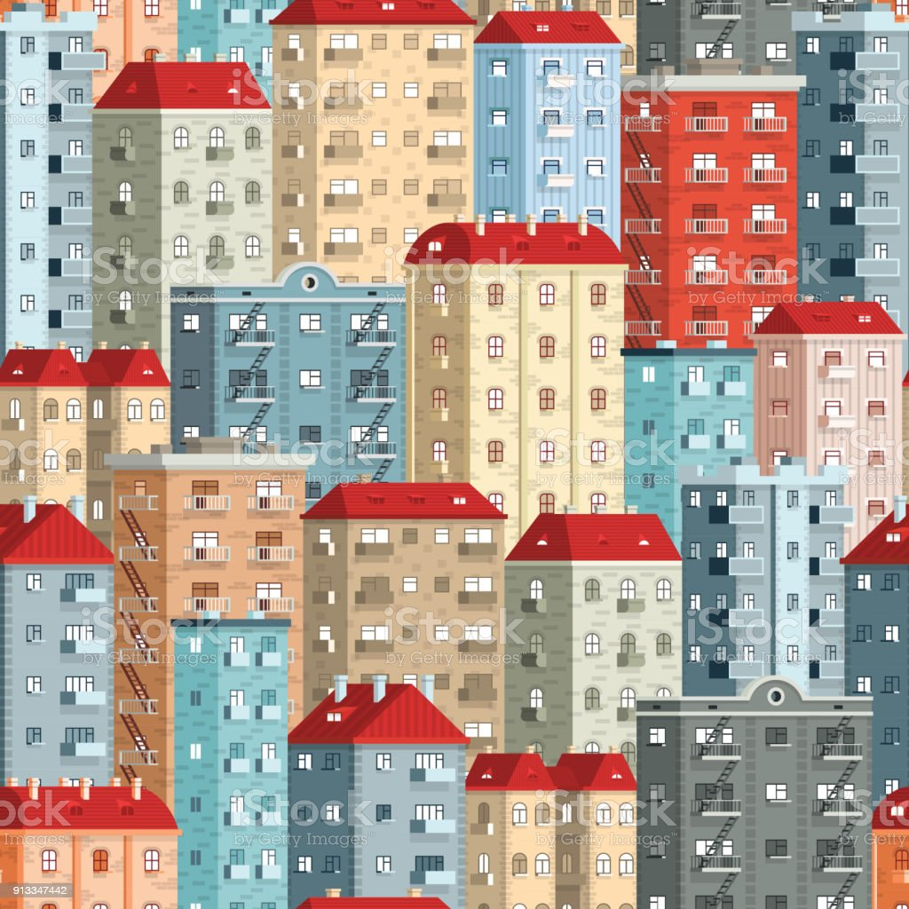 Colored European high-rise buildings vector art illustration