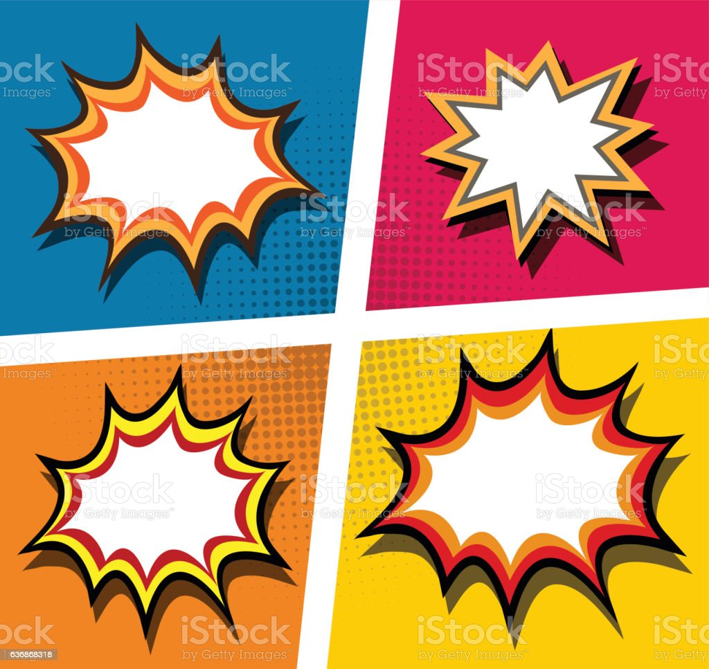 Colored explosion set vector art illustration