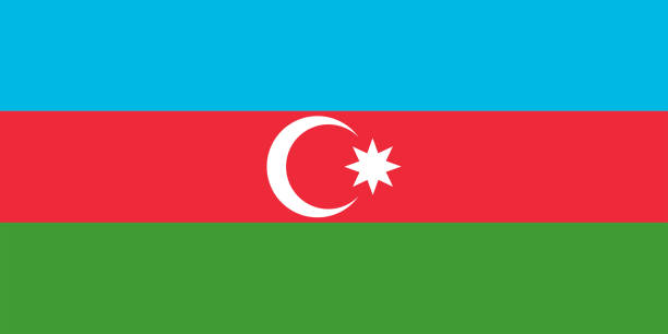 Colored flag of Azerbaijan Colored flag of Azerbaijan azerbaijan stock illustrations